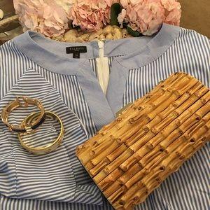 Talbots Blue & White Bell Sleeve Dress 14 Petite